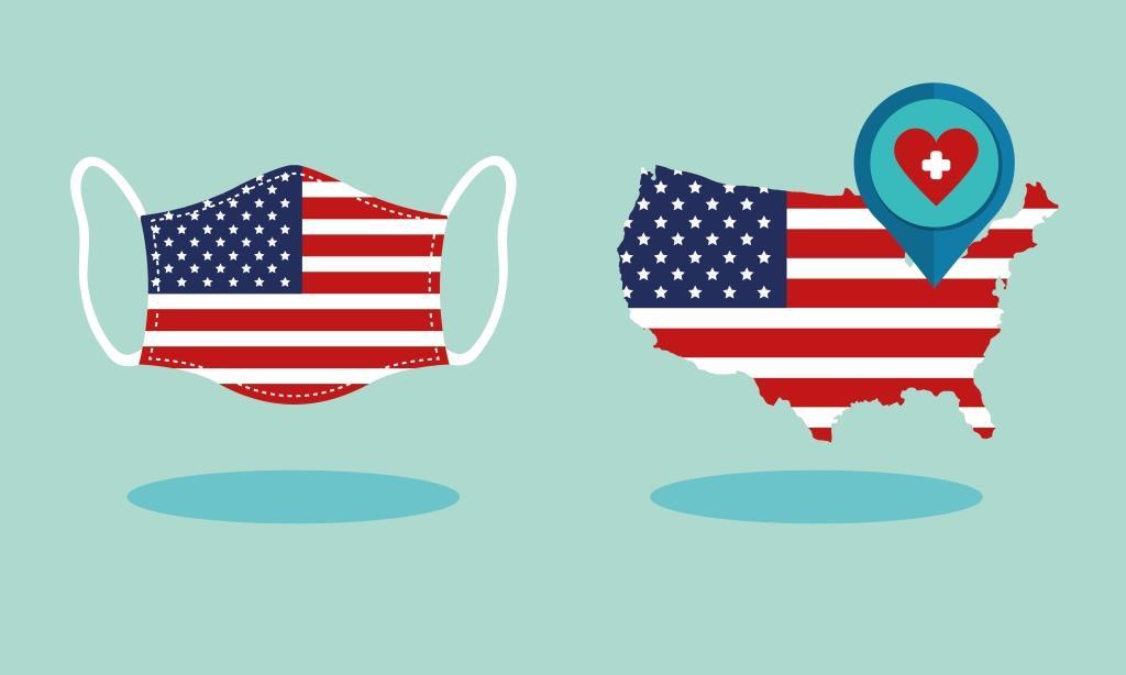 Peta dan Masker Bendera Amerika Serikat